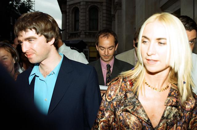 Noel Gallagher and Meg Matthews at 10 Downing Street for a party held by Prime Minister Tony Blair. Many celebrities also attended, 30th July 1997. (Photo by John Ferguson/Ian Vogler/Mirrorpix/Getty Images)