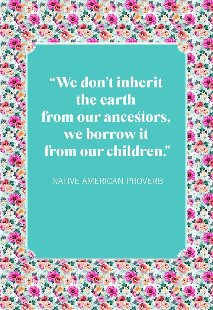 """<p>""""We don't inherit the earth from our ancestors, we borrow it from our children.""""</p>"""