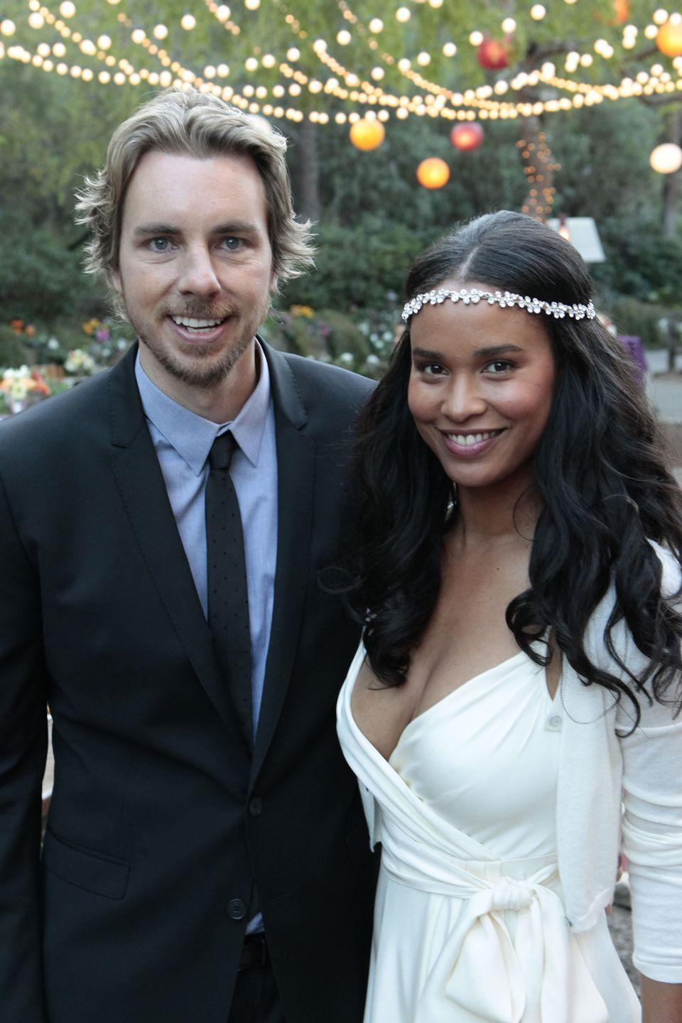 <p>We're totally here for the casual vibes of Crosby and Jasmine's backyard wedding ceremony—not to mention Jasmine's simple wrap dress and white cardigan combo. </p>