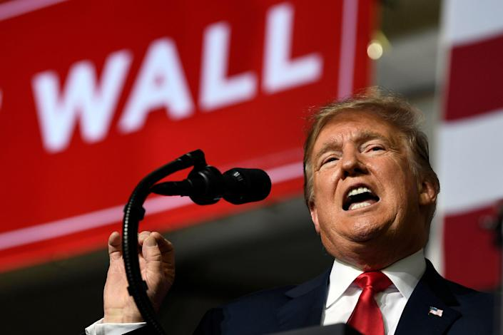 President Trump speaks during a rally in El Paso, Texas.