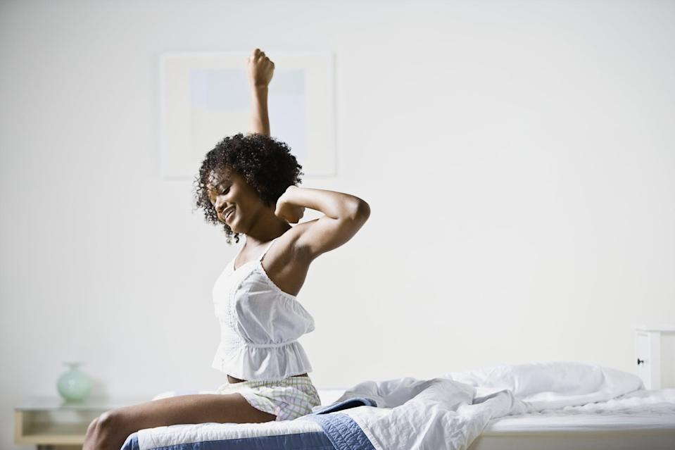 """<p>Start the day with five minutes of stretches in bed. """"Stretching is a practice that increases blood flow to our muscles and can help us relieve stress,"""" Mancao said. Dr. Ho recommended simple stretches like:</p> <ul> <li>Star stretch: spread your arms and legs like a star and hold for 20 to 30 seconds</li> <li><a href=""""https://www.popsugar.com/fitness/photo-gallery/21988406/image/35181009/Knees-Chest"""" class=""""link rapid-noclick-resp"""" rel=""""nofollow noopener"""" target=""""_blank"""" data-ylk=""""slk:Knees to chest"""">Knees to chest</a>: hug your knees to your chest for 20 to 30 seconds</li> <li><a href=""""https://www.popsugar.com/fitness/photo-gallery/44502022/image/44512297/Seated-Forward-Bend"""" class=""""link rapid-noclick-resp"""" rel=""""nofollow noopener"""" target=""""_blank"""" data-ylk=""""slk:Seated forward fold"""">Seated forward fold</a>: sit with your legs straight out in front of you and reach for your toes for 20 to 30 seconds</li> </ul>"""