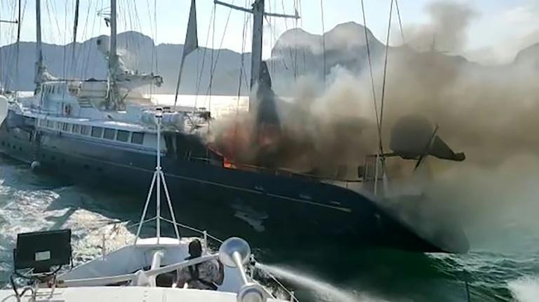 Seven crew members were saved from the vessel after rescuers were alerted to the fire on Thursday