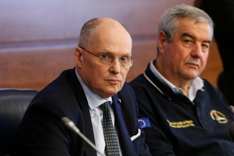 World Health Organization official Walter Ricciardi, with Angelo Borrelli, the head of the Civil Protection Department during a press conference in Rome, 25 February