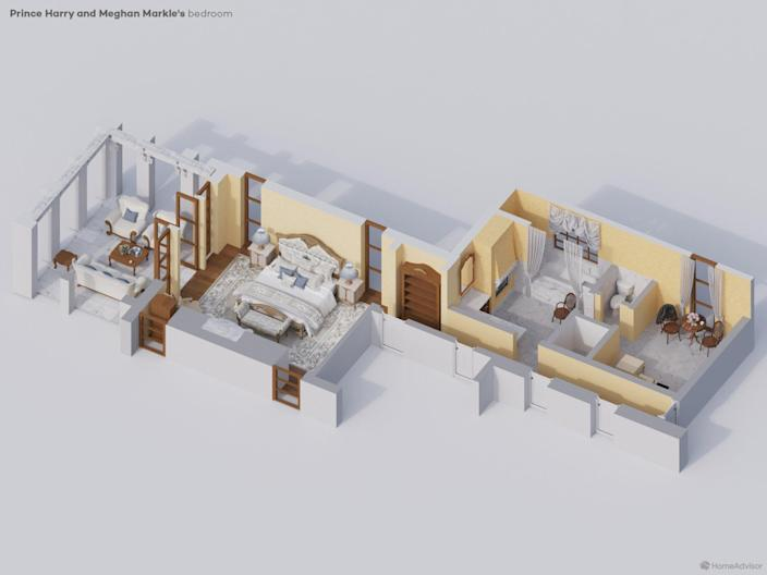Layout for Prince Harry and Meghan Markle's Master Bedroom