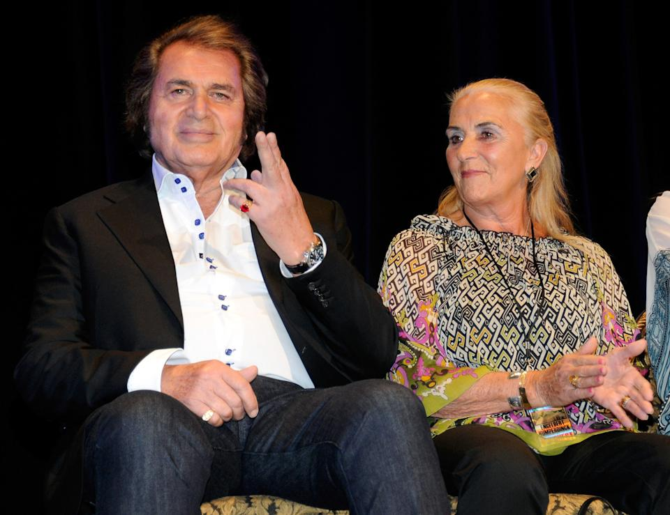 LAS VEGAS, NV - JULY 20:  Singer Engelbert Humperdinck (L) and his wife Patricia Dorsey appear at the Paris Las Vegas during his Las Vegas Walk of Stars dedication ceremony July 20, 2011 in Las Vegas, Nevada. His star will be placed outside the resort on July 21.  (Photo by Ethan Miller/Getty Images)