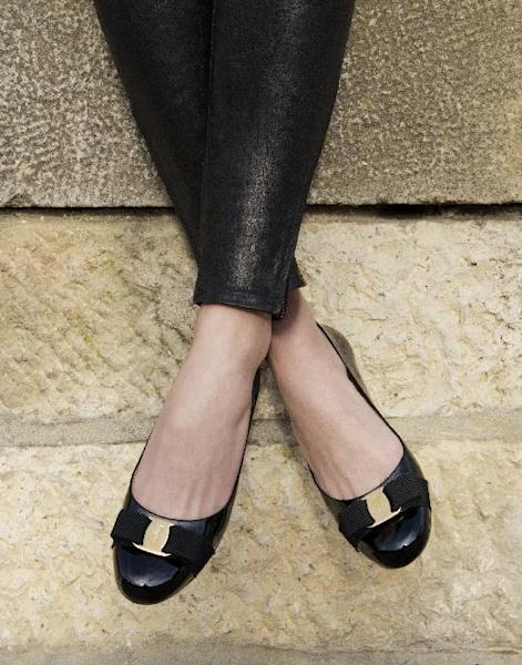 This undated image released by Ferragamo shows a close up image of a Ferragamo Varina shoe in black, worn by Alexandra Richards. (AP Photo/Ferragamo)