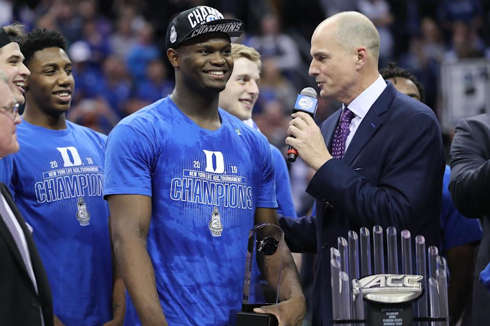 CHARLOTTE, NC - MARCH 16:  Duke Blue Devils forward Zion Williamson (1) wins MVP at the end of the of the ACC Tournament championship game with the Duke Blue Devils versus the Florida State Seminoles on March 16, 2019, at the Spectrum Center in Charlotte, NC. (Photo by Jaylynn Nash/Icon Sportswire via Getty Images)