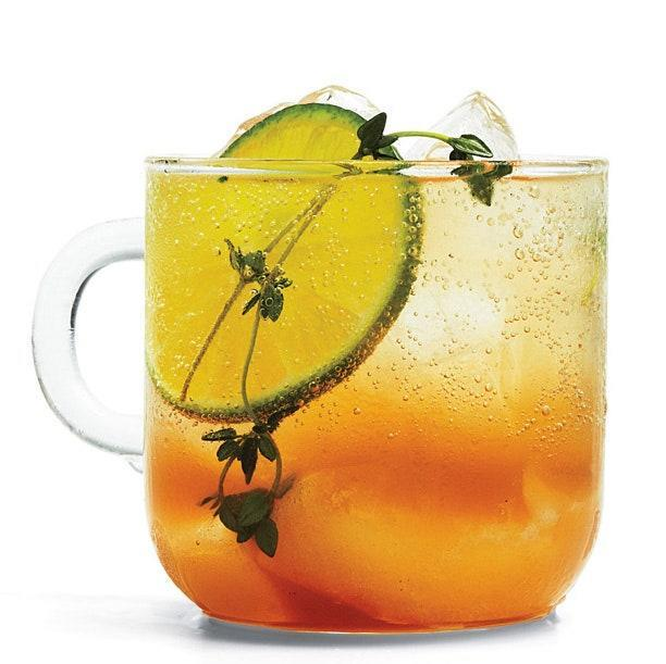 """Thyme syrup adds a savory note to this rum and apple cider punch. Don't skip the Angostura bitters, which add spice and help to balance the drink. <a href=""""https://www.epicurious.com/recipes/food/views/the-new-england-express-51198920?mbid=synd_yahoo_rss"""" rel=""""nofollow noopener"""" target=""""_blank"""" data-ylk=""""slk:See recipe."""" class=""""link rapid-noclick-resp"""">See recipe.</a>"""