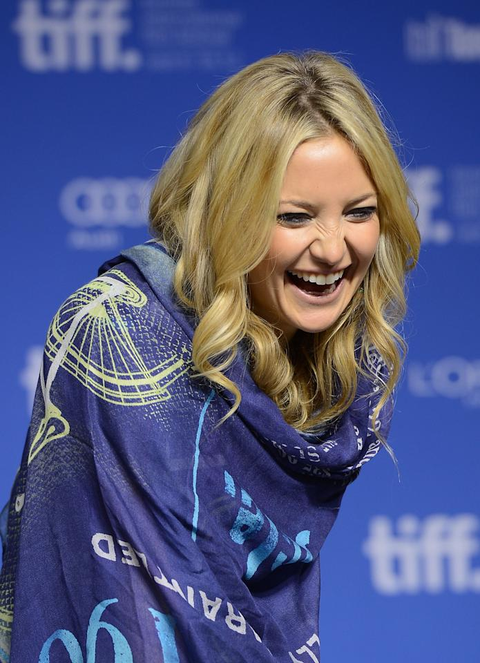 TORONTO, ON - SEPTEMBER 09:  Actress Kate Hudson speaks onstage at 'The Reluctant Fundamentalist' Press Conference during the 2012 Toronto International Film Festival at TIFF Bell Lightbox on September 9, 2012 in Toronto, Canada.  (Photo by Jason Merritt/Getty Images)