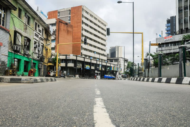 A view of the deserted central business district is pictured on the first day of a 14-day lockdown aimed at limiting the spread of coronavirus disease (COVID-19) in Lagos