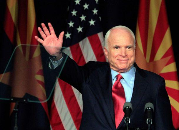 PHOTO: Sen. John McCain speaks to a group of supporters at his victory party after winning Arizona's primary election, Aug. 24, 2010, in Phoenix. (Eric Thayer/Getty Images, FILE)