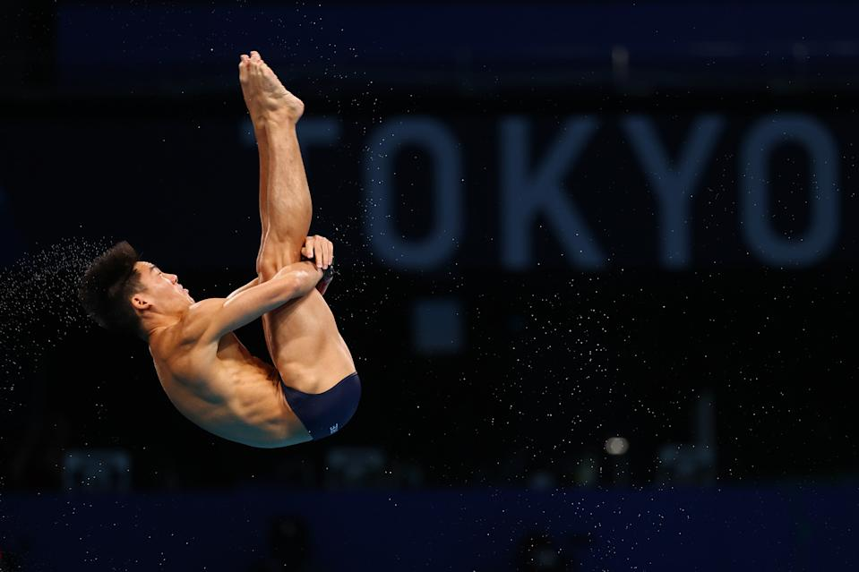 Singapore diver Jonathan Chan in action during the men's 10m platform preliminary round at the 2020 Tokyo Olympics.