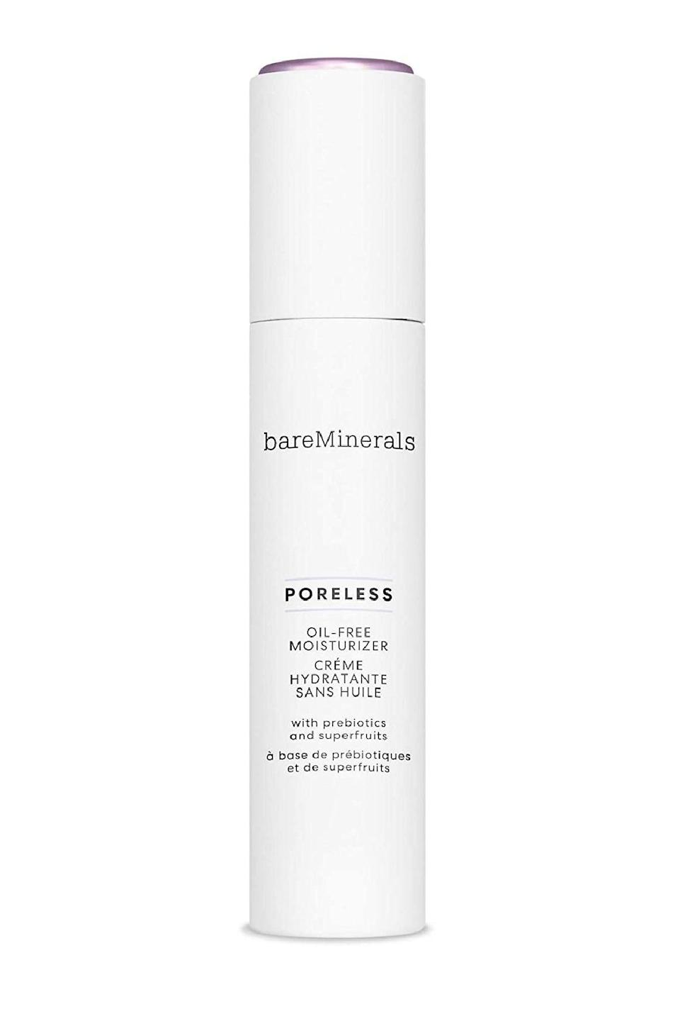 """<p><strong>bareMinerals</strong></p><p>ulta.com</p><p><strong>$35.00</strong></p><p><a href=""""https://go.redirectingat.com?id=74968X1596630&url=https%3A%2F%2Fwww.ulta.com%2Fporeless-oil-free-moisturizer%3FproductId%3Dpimprod2009780&sref=https%3A%2F%2Fwww.marieclaire.com%2Fbeauty%2Fg34399769%2Fbest-oil-free-moisturizers%2F"""" rel=""""nofollow noopener"""" target=""""_blank"""" data-ylk=""""slk:SHOP IT"""" class=""""link rapid-noclick-resp"""">SHOP IT</a></p><p>When you struggle with acne there's usually a range of causes, many of which are addressed with the prebiotics and fruit exfoliants in this lightweight and pore-refining formulation. </p>"""