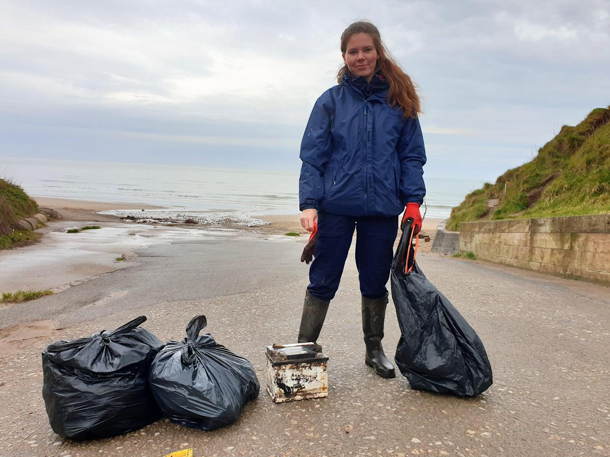 Niamh Byrne, a Marine Conservation Society (MCS) volunteer found the SKI yoghurt pot washed up on Filey Bay in North Yorkshire.
