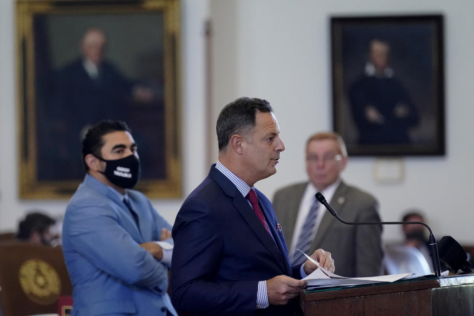 Rep. Rafael Anchia, D-Dallas, speaks against HB 6, an election bill, in the House Chamber at the Texas Capitol in Austin, Texas, Thursday, May 6, 2021. (AP Photo/Eric Gay)