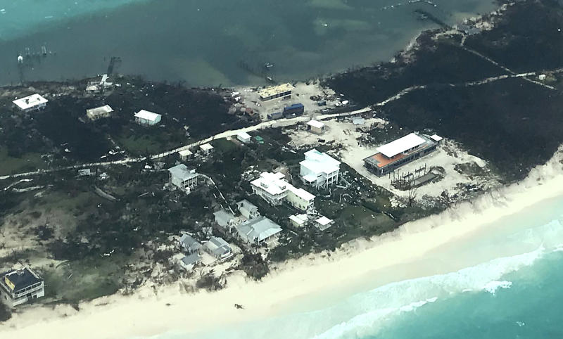 In this handout aerial photo provided by the HeadKnowles Foundation, damage is seen from Hurricane Dorian on Abaco Island on Sept. 3, 2019 in the Bahamas. (Photo: HeadKnowles Foundation via Getty Images)