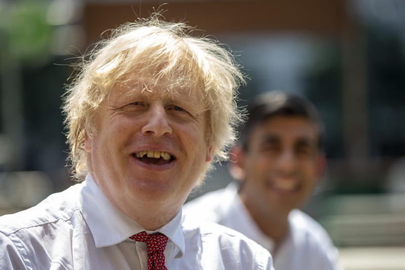 Prime Minister Boris Johnson during a visit to the Pizza Pilgrims restaurant in east London to see how they are getting their business ready to reopen and adapting to follow COVID-secure guidelines, as further coronavirus lockdown restrictions are lifted in England.