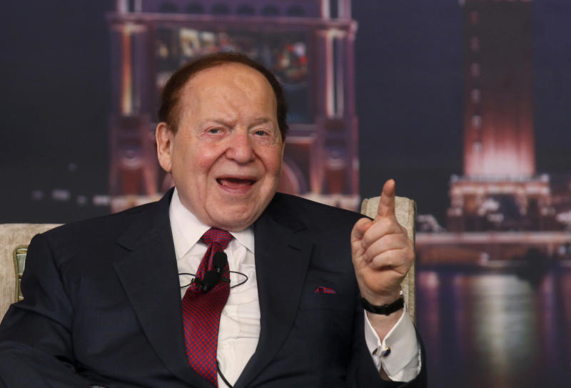 "FILE - In this April 12, 2012 file photo, Las Vegas Sands Chairman and CEO Sheldon Adelson speaks at a news conference for the Sands Cotai Central in Macau. Sen. John McCain, R-Ariz., said in an interview posted online Friday that ""foreign money"" was helping fellow Republican Mitt Romney's presidential hopes and singled out one of his ally's most generous supporters. (AP Photo/Kin Cheung, File)"