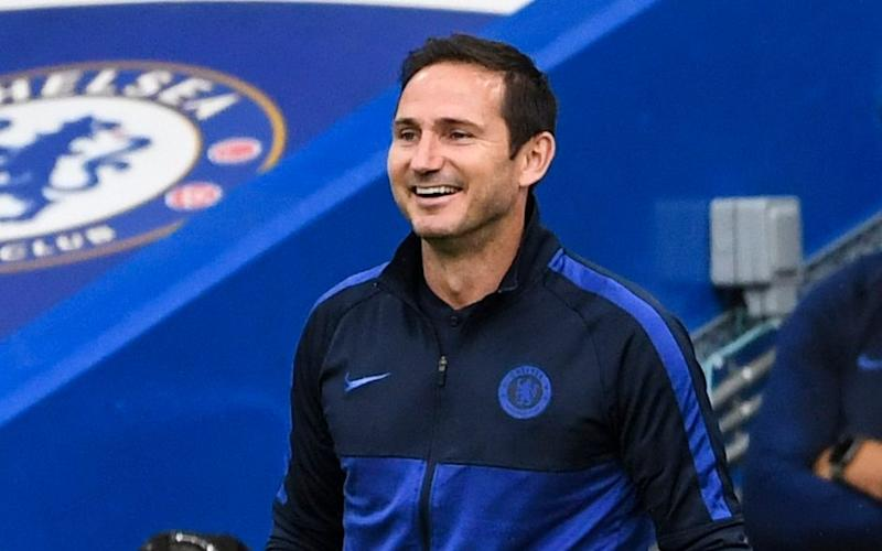 Frank Lampard smiling on the sidelines -Chelsea chairman hails Frank Lampard's 'very successful' first season at Stamford Bridge - NMC POOL