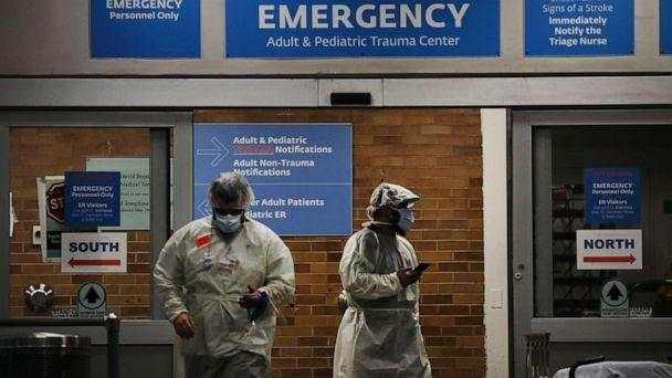 PHOTO: Medical workers take in patients outside a special coronavirus area at Maimonides Medical Center in the Borough Park neighborhood of the Brooklyn borough in New York City on May 06, 2020. (Spencer Platt/Getty Images)
