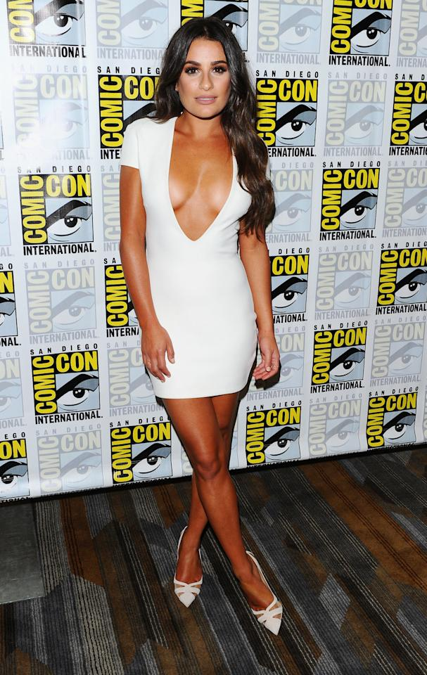 <p>Lea flaunted her er, tan, in a plunging white dress as she joined the stars of 'Scream Queens'.<i> [Photo: REX] </i></p>