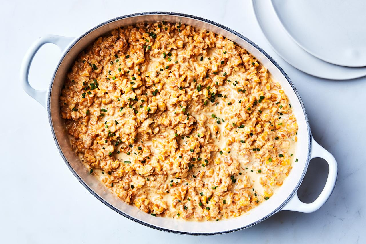 "Step aside, cornbread. Dried sweet corn is the Pennsylvanian Dutch side dish that you want on your table. <a rel=""nofollow"" href=""https://www.epicurious.com/recipes/food/views/creamed-dried-sweet-corn-with-onion-and-chives?mbid=synd_yahoo_rss"">See recipe.</a>"