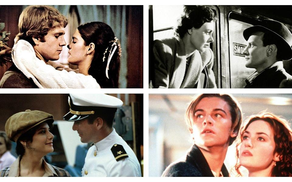 Coupled up (clockwise from top left): Love Story; Brief Encounter; Titanic; An Officer and a Gentleman - Film Stills