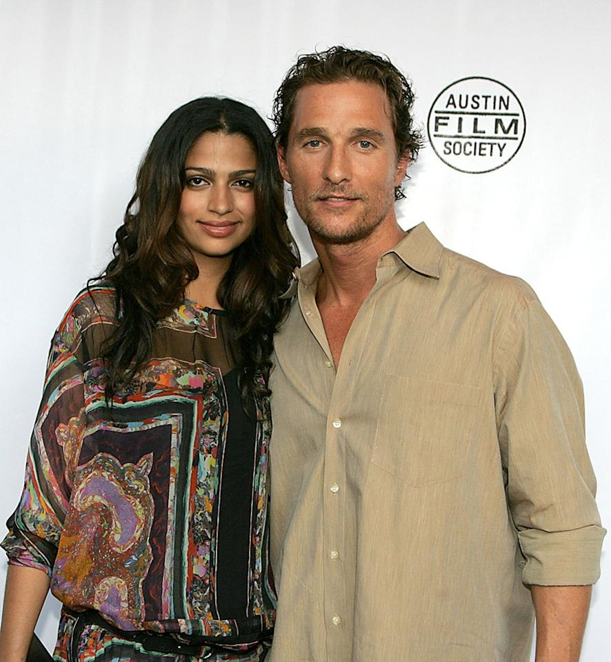 """Camilla Alves and <a href=""""http://movies.yahoo.com/movie/contributor/1800018907"""">Matthew McConaughey</a> at the Austin premiere of <a href=""""http://movies.yahoo.com/movie/1809878352/info"""">Surfer Dude</a> - 09/03/2008"""