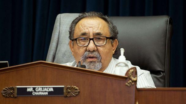 PHOTO: House Natural Resources Committee Chairman Raul Grijalva makes a closing statement at a hearing in Washington, June 29, 2020. (Pool/Getty Images)