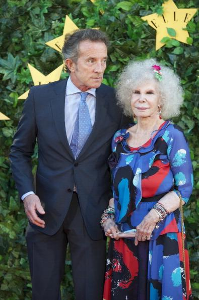 MADRID, SPAIN - JUNE 30: Duchess of Alba, Cayetana Fitz-James Stuart and Alfonso Diez attend ELLE Awards 25th Anniversary at the Matadero cultural center on June 30, 2011 in Madrid, Spain. (Photo by Carlos Alvarez/Getty Images)