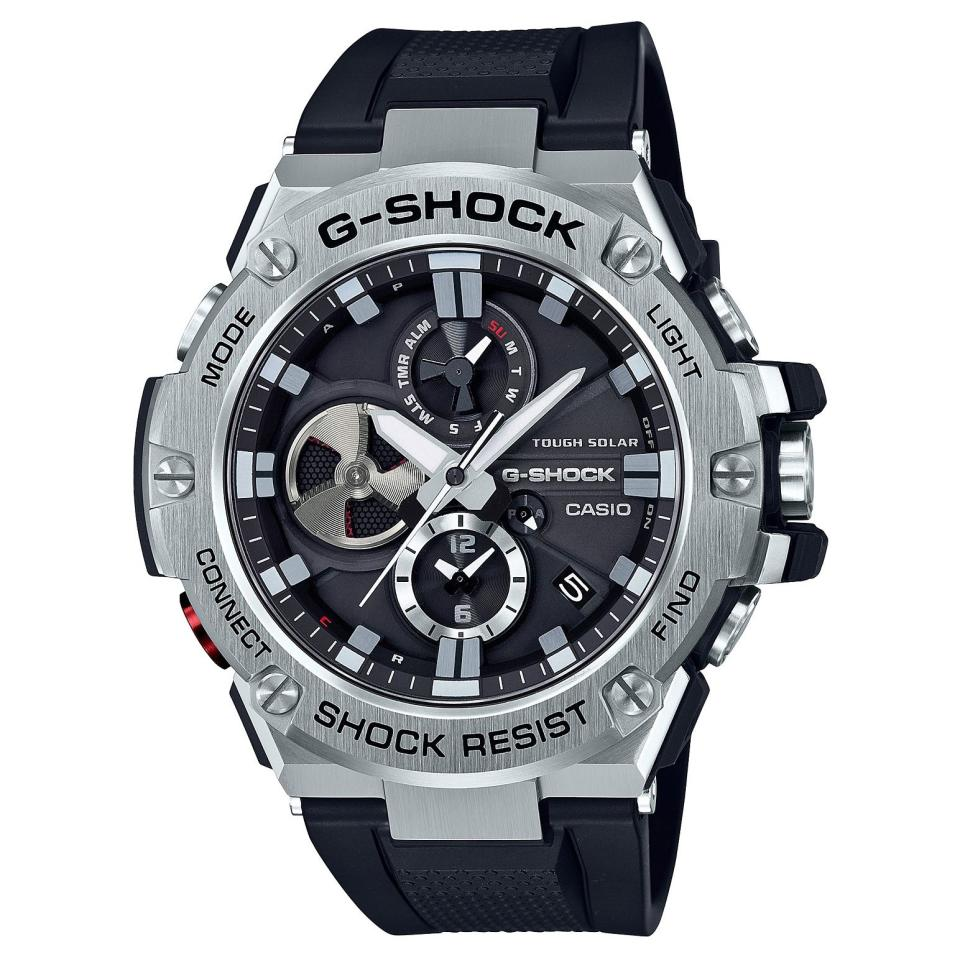 """<p><strong>Casio</strong></p><p>amazon.com</p><p><strong>$320.00</strong></p><p><a href=""""http://www.amazon.com/dp/B075JH5495/?tag=syn-yahoo-20&ascsubtag=%5Bartid%7C2089.g.3124%5Bsrc%7Cyahoo-us"""" target=""""_blank"""">Shop Now</a></p><p>This G-Steel variant has a solar-powered movement with a rich set of complications, including Bluetooth connectivity for syncing with a smartphone. Other key features of the rugged timepiece include LED lighting, a lightweight silicone band, and a multifunctional rotating disc sub-dual, which was inspired by jet engines.<br></p><p><strong>More:</strong> <a href=""""https://www.bestproducts.com/mens-style/g2111/cool-casio-g-shock-watches/"""" target=""""_blank"""">The Hottest G-SHOCK Watches You Should Know About</a></p>"""