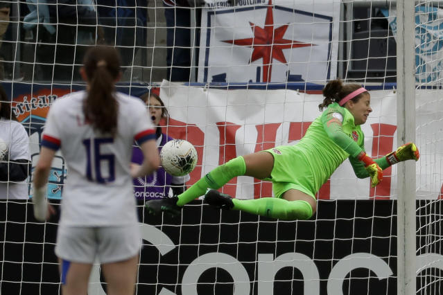 Canada goalkeeper Stephanie Labbe blocks a shot during the first half of a CONCACAF women's Olympic qualifying soccer match against the United States Sunday, Feb. 9, 2020, in Carson, Calif. (AP Photo/Chris Carlson)