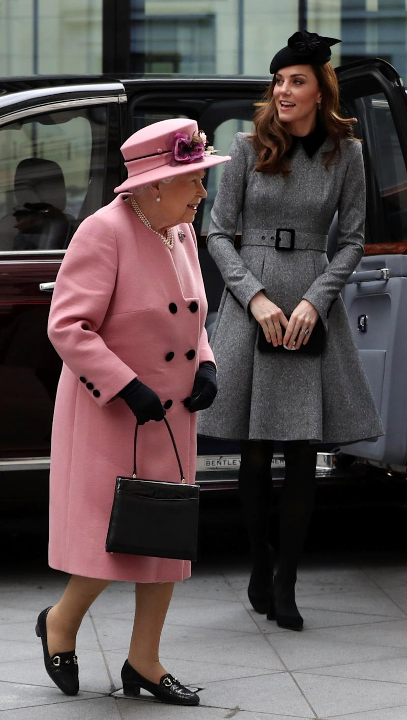 The Queen and Duchess of Cambridge at Kings College in 2019 (Reuters)