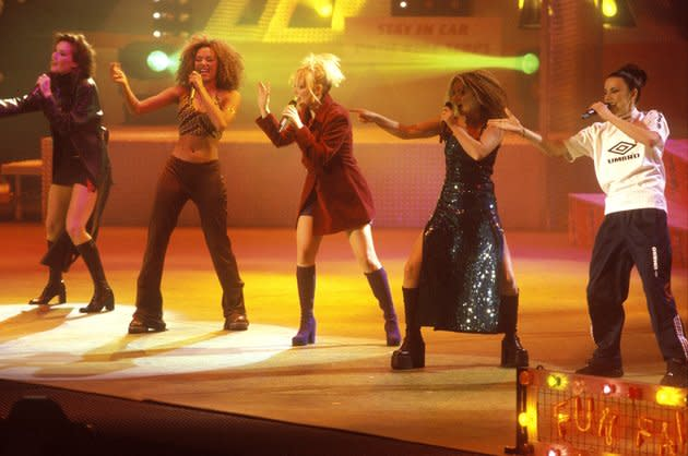 The Spice Girls performing as a five-piece in December 1996