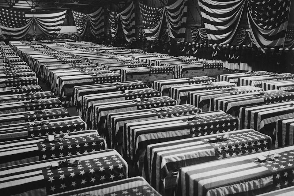 "<p>A service is held in Hoboken, NJ, for American soldiers who died on the battlefields of France during World War I, circa 1920. </p><p><strong>RELATED: <a href=""https://www.redbookmag.com/life/g4595/beautiful-nature-photos-around-the-world/"" rel=""nofollow noopener"" target=""_blank"" data-ylk=""slk:50 Natural Photos That You Won't Believe Aren't Photoshopped"" class=""link rapid-noclick-resp"">50 Natural Photos That You Won't Believe Aren't Photoshopped</a></strong></p>"