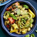 <p>This dish is an easy way to turn grilled vegetables into a satisfying meal, thanks to hearty whole-grain pasta and a quick homemade pesto.</p>