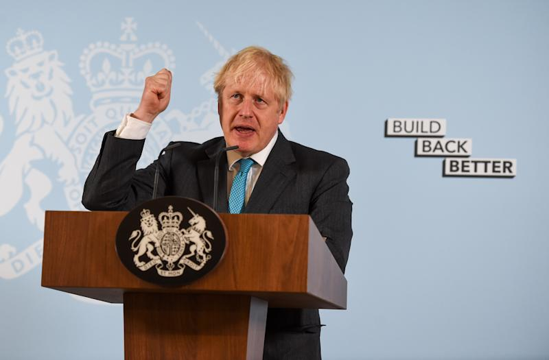 "Prime Minister Boris Johnson delivers a speech during a visit to Exeter College Construction Centre, Exeter, in which he made a pledge to ensure there was ""life-long"" skills retraining opportunities after the coronavirus pandemic had exposed the ""shortcomings"" of the UK's educational system."