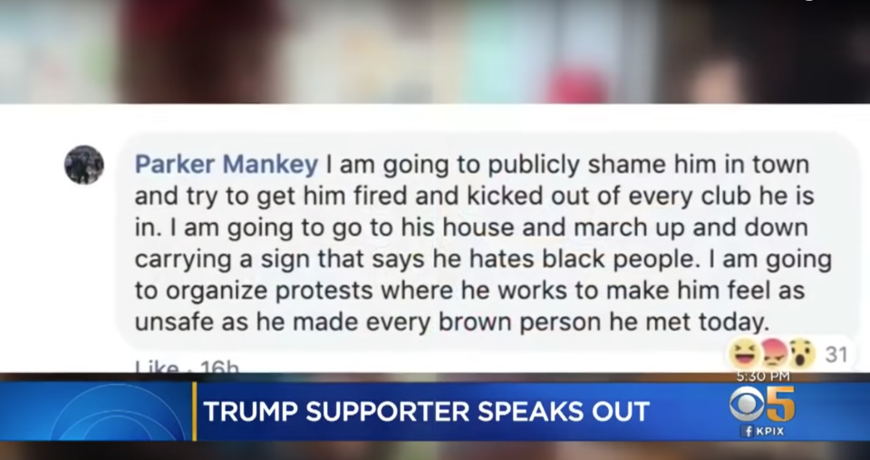 A deleted Facebook comment from Rebecca Parker Mankey of Palo Alto, vowed to ruin a man's life because he wore a MAGA hat in Starbucks. (Screenshot: KPIX CBS)