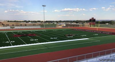 Hellas Construction crews are at Riverton  tall School in Wyoming wrapping up installation of the  modern Matrix Turf with Helix Technology and  console Coat™ pad, along with the epiQ Tracks® X1000 track surface scheduled for completion next week.