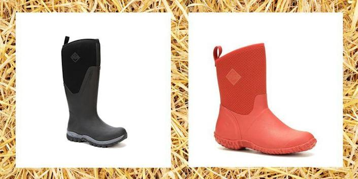 """<p>Living and working on a ranch is dirty business, and that's a fact Ree Drummond knows all too well. She needs gear to keep her dry and comfy while dealing with animals, mud from the pond behind her house, and other messy situations. That's probably why the Drummonds have come to love muck boots so much. </p><p>These sturdy, waterproof shoes are also called chore or work boots, and they have a lot in common with <a href=""""https://www.thepioneerwoman.com/fashion-style/g32460189/best-rain-boots/"""" rel=""""nofollow noopener"""" target=""""_blank"""" data-ylk=""""slk:rain boots"""" class=""""link rapid-noclick-resp"""">rain boots</a>. The biggest difference? They're arguably twice as durable, and are designed to hold up against leaks to keep your feet supported in the, well, muckiest of conditions. Muck boots are perfect for those moments that don't <em>quite</em> require <a href=""""https://www.thepioneerwoman.com/fashion-style/g32598715/best-snow-boots-women/"""" rel=""""nofollow noopener"""" target=""""_blank"""" data-ylk=""""slk:snow boots"""" class=""""link rapid-noclick-resp"""">snow boots</a>, but are still incredibly slushy, muddy, or sludge-filled. And though it might seem obvious, they're not to be confused with <a href=""""https://www.thepioneerwoman.com/fashion-style/g32475518/best-cowboy-boots/"""" rel=""""nofollow noopener"""" target=""""_blank"""" data-ylk=""""slk:cowboy boots"""" class=""""link rapid-noclick-resp"""">cowboy boots</a>, which are worn for drier work conditions. </p><p>While there are tons of muck boots for women on the market, not all of them are worth the hefty price tag (and there's only one brand that's specifically Ree-approved!). Whether you have a ranch and cattle of your own or are just planting a garden in your yard, you'll be able to find a perfect pair by scrolling through our picks.</p>"""