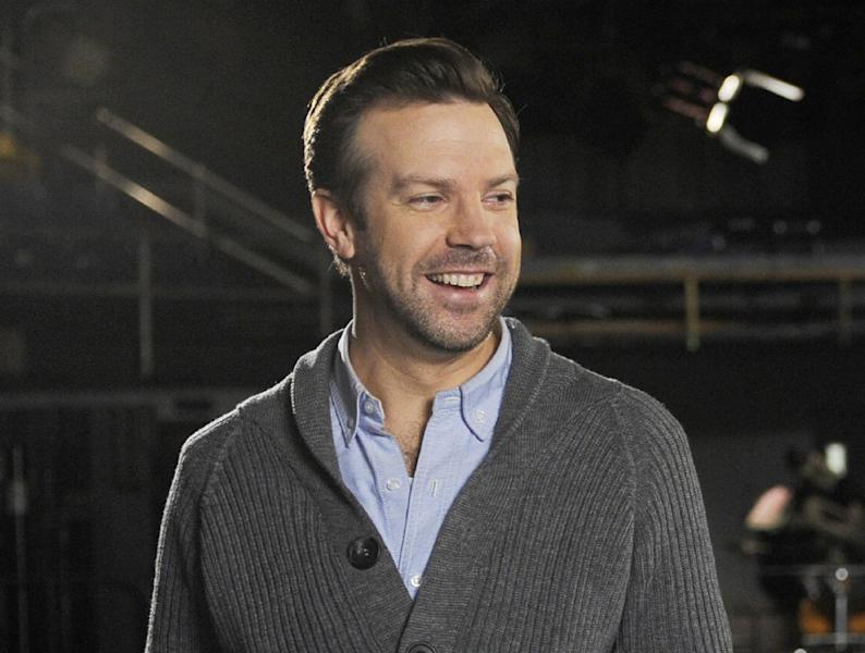 "This Feb. 26, 2013 photo released by NBC shows castmember Jason Sudeikis on the set of ""Saturday Night Live,"" in New York. After eight years on the air at ""Saturday Night Live,"" Jason Sudeikis says he's calling it quits. Sudeikis used another late-night institution to make his announcement, telling David Letterman in the taping of the show on Wednesday, July 24, that he's leaving NBC's weekend program. Sudeikis had a busy election year on ""Saturday Night Live,"" portraying both Republican Mitt Romney and Vice President Joe Biden. (AP Photo/NBC, Dana Edelson)"