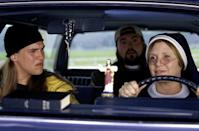 <p>Carrie Fisher in <em>Jay and Silent Bob Strike Back </em>in 2001, with Jason Mewes and Kevin Smith. (Photo: Everett Collection)</p>
