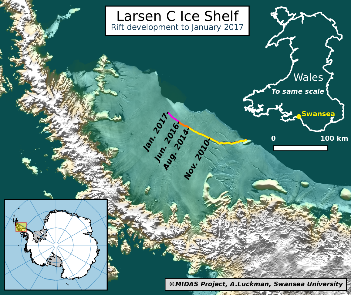 Larsen C ice shelf crack rift iceberg swansea university