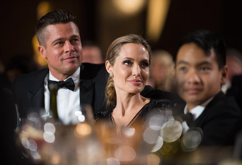 Brad Pitt, Angelina Jolie, and son Maddox on Saturday night