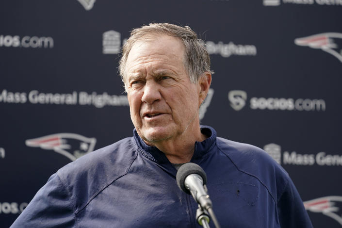 New England Patriots head coach Bill Belichick faces reporters before an NFL football practice, Thursday, July 29, 2021, in Foxborough, Mass. (AP Photo/Steven Senne)