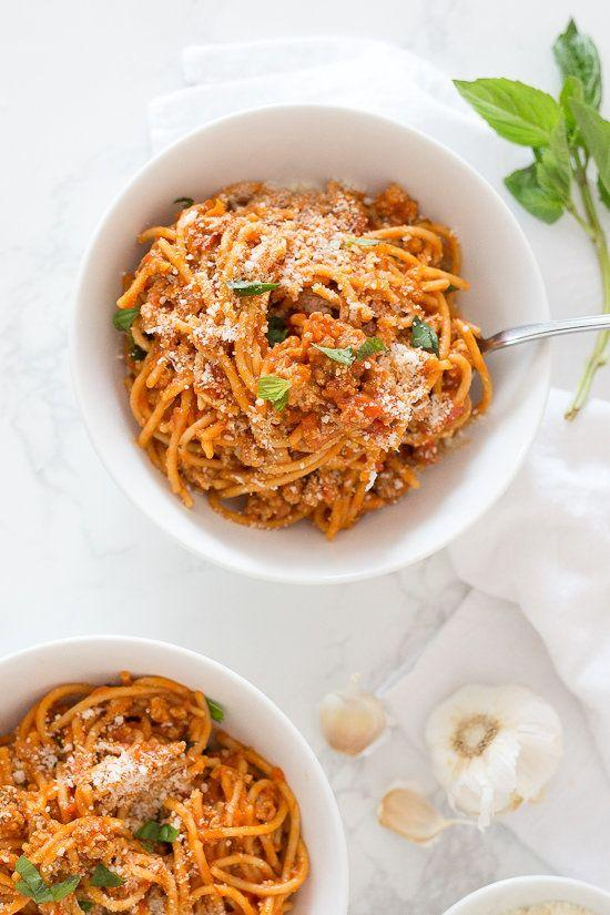 "<strong>Get the <a href=""https://www.skinnytaste.com/instant-pot-one-pot-spaghetti-with-meat-sauce/"" rel=""nofollow noopener"" target=""_blank"" data-ylk=""slk:Instant Pot One-Pot Spaghetti With Meat Sauce recipe"" class=""link rapid-noclick-resp"">Instant Pot One-Pot Spaghetti With Meat Sauce recipe</a>&nbsp;from Skinny Taste</strong>"