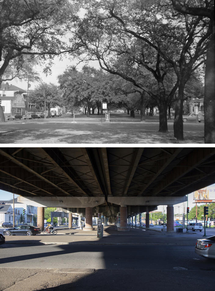 This photo combination shows Claiborne Avenue in New Orleans lined with trees at the intersection with Esplanade Avenue on Nov. 1, 1956, top, and the same location on May 7, 2021, bottom, where an elevated expressway built in the late 1960s now runs along Claiborne Ave. (City Archives & Special Collections, New Orleans Public Library, top, and Rebecca Santana, bottom, via AP)
