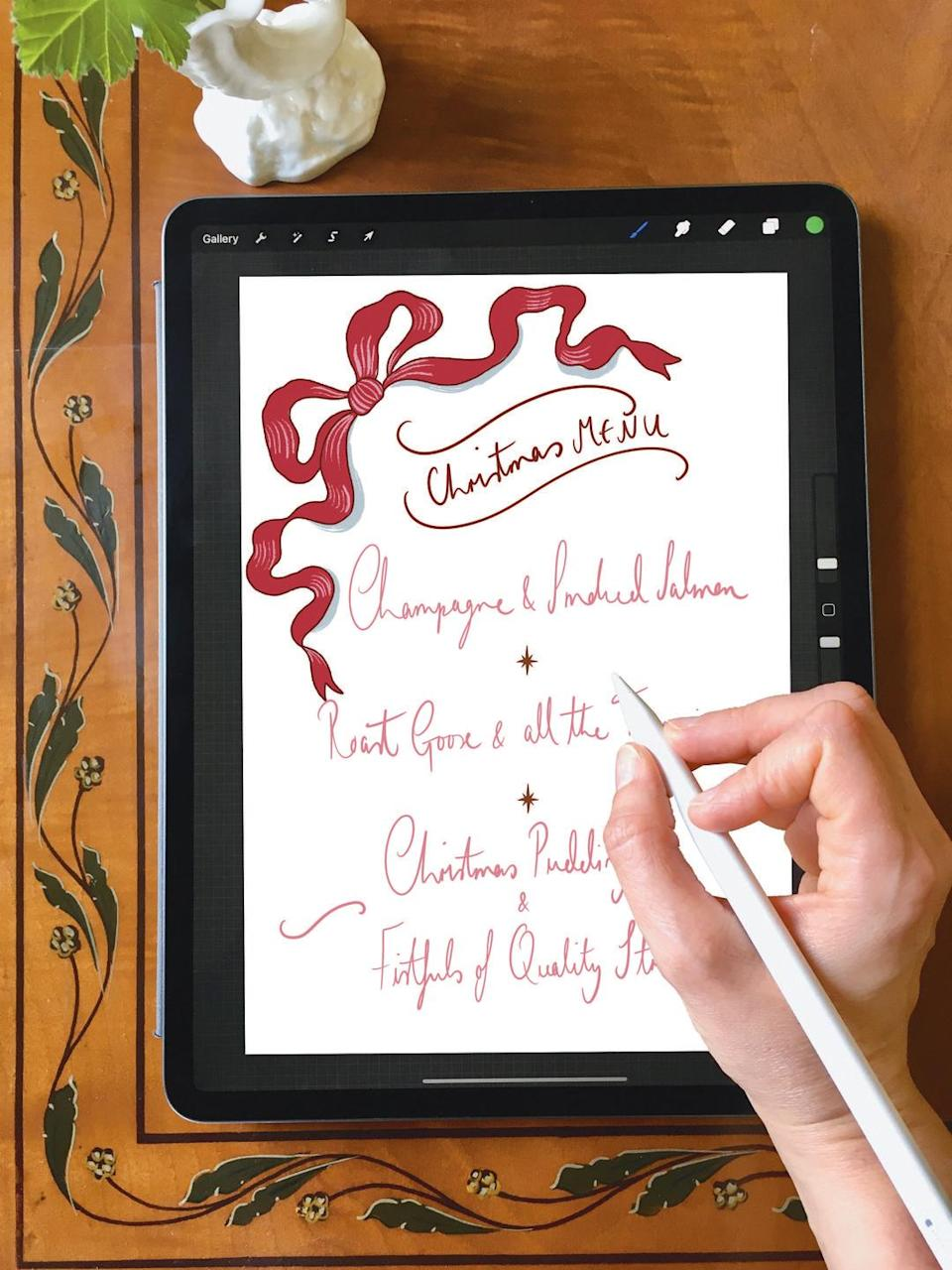 """<p>The London-based designer and illustrator Isla Simpson is offering the perfect gift for the enthusiastic host. Under her careful tuition, you'll learn to craft your own hand-designed menus, place cards and table decorations for dinner parties, weddings and more. Drawing novices are welcome: the only requirements are an iPad, an Apple pencil and the app Procreate 5X. Enjoy the online course at your own pace and learn a lifelong skill to bring your table settings to the next level. AD</p><p>£140, <a href=""""http://www.islasimpson.co.uk"""" rel=""""nofollow noopener"""" target=""""_blank"""" data-ylk=""""slk:Isla Simpson"""" class=""""link rapid-noclick-resp"""">Isla Simpson</a></p>"""