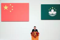 Chinese President Xi Jinping speaks at a ceremony on the 20th anniversary of the former Portuguese colony's return to China in Macau