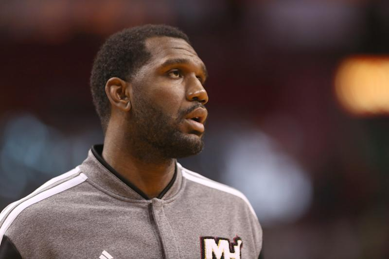 MIAMI, FL - FEBRUARY 23: Center Greg Oden #20 of the Miami Heat plays against the Chicago Bulls at AmericanAirlines Arena on February 23, 2014 in Miami, Florida.The Heat defeated the Bulls 93-79. NOTE TO USER: User Expressly acknowledges and agrees that, by downloading and or using this photograph, user is consenting to the terms and conditions of the Getty Images Liscense Agreement. (Photo by Marc Serota/Getty Images)